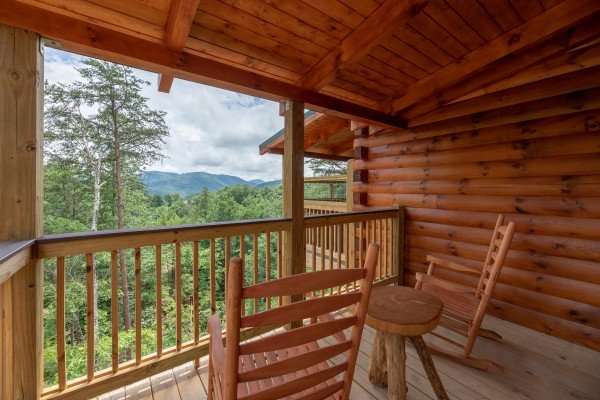 Rocking chairs on a covered porch at Sawmill Springs, a 3 bedroom rental cabin in Pigeon Forge