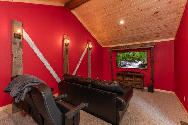 Theater room at Sawmill Springs, a 3 bedroom rental cabin in Pigeon Forge