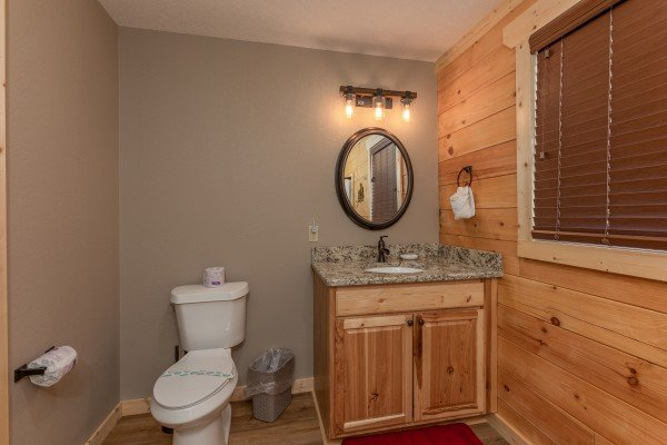 Vanity in the second bathroomat Sawmill Springs, a 3 bedroom cabin rental located in Pigeon Forge