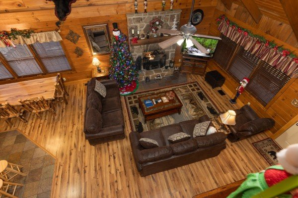 Looking down at the living room at Pigeon Forge Pleasures, a 3 bedroom cabin rental located in Pigeon Forge
