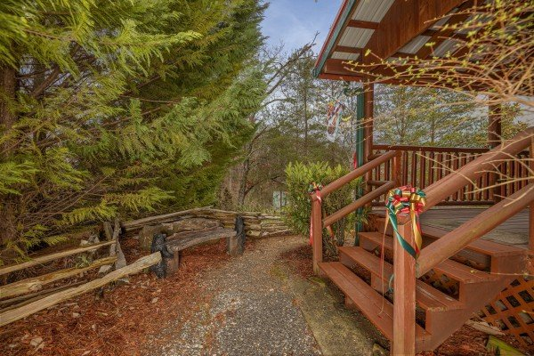 Stairs leading up the deck at Pigeon Forge Pleasures, a 3 bedroom cabin rental located in Pigeon Forge