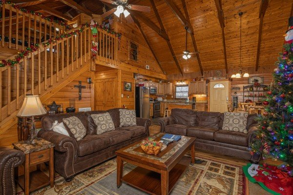 Sofas in the living room at Pigeon Forge Pleasures, a 3 bedroom cabin rental located in Pigeon Forge