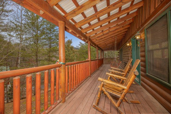 Rocking chairs at Pigeon Forge Pleasures, a 3 bedroom cabin rental located in Pigeon Forge