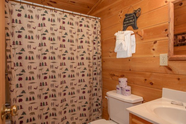 Full bath upstairs at Bearly Mine, a 1 bedroom Pigeon Forge cabin rental