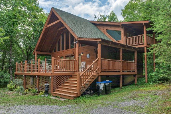 Exterior front view at Aw Paw's Place, a 1-bedroom cabin rental located in Pigeon Forge