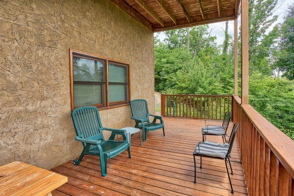 Seating on the deck at I Do Love Views, a 3 bedroom cabin rental located in Pigeon Forge