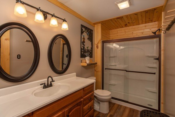 Bathroom with a large shower at I Do Love Views, a 3 bedroom cabin rental located in Pigeon Forge