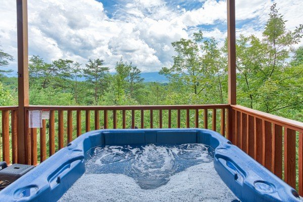 Hot tub with mountain views at I Do Love Views, a 3 bedroom cabin rental located in Pigeon Forge
