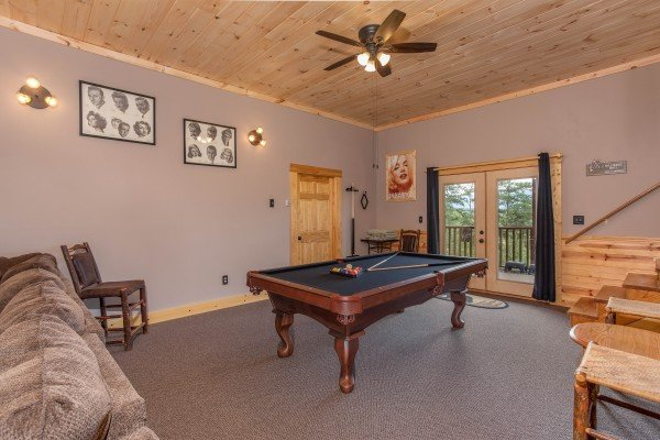 Pool table in the game room at I Do Love Views, a 3 bedroom cabin rental located in Pigeon Forge