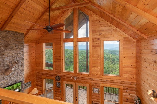 Vaulted ceiling with large windows at I Do Love Views, a 3 bedroom cabin rental located in Pigeon Forge