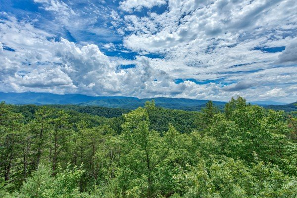 Mountain view from the hot tub at I Do Love Views, a 3 bedroom cabin rental located in Pigeon Forge