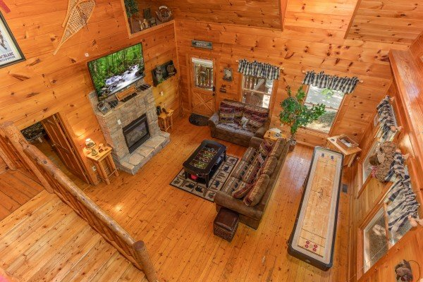 Looking down into the living room at Misty Mountain Escape, a 2 bedroom cabin rental located in Gatlinburg