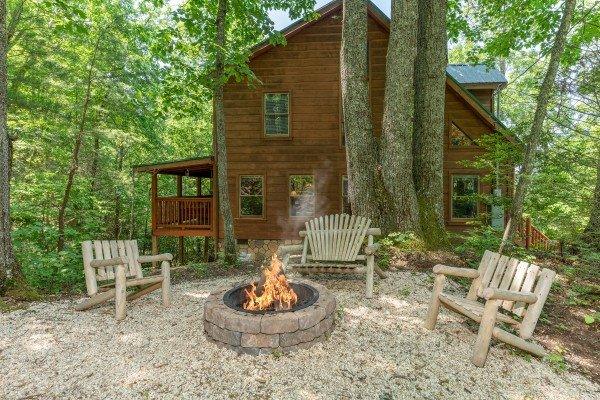Fire pit at Misty Mountain Escape, a 2 bedroom cabin rental located in Gatlinburg