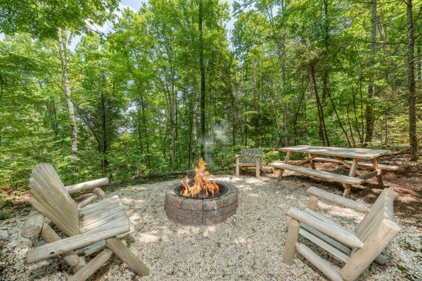 Picnic table at Misty Mountain Escape, a 2 bedroom cabin rental located in Gatlinburg