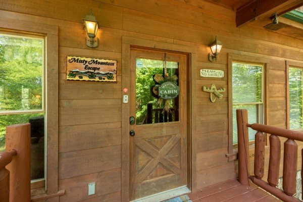 Front door at Misty Mountain Escape, a 2 bedroom cabin rental located in Gatlinburg