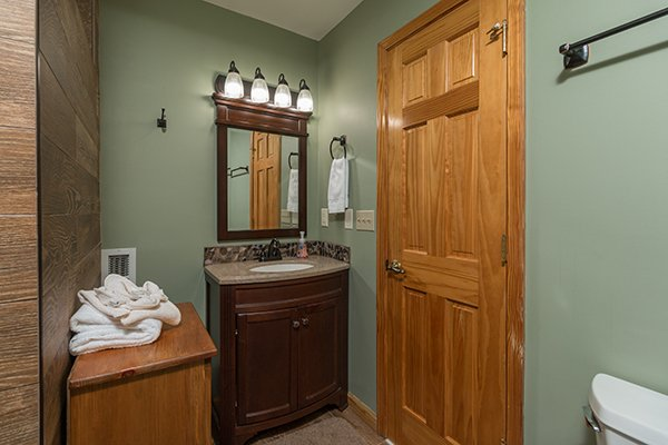 Loft bathroom at Maple Top in the Smokies, a 3 bedroom cabin rental located in Pigeon Forge