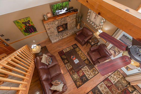 Looking down onto the main floor at Maple Top in the Smokies, a 3 bedroom cabin rental located in Pigeon Forge