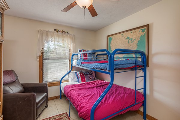 Bedroom with bunk beds at Alone at the Top, a 3 bedroom cabin rental located in Pigeon Forge