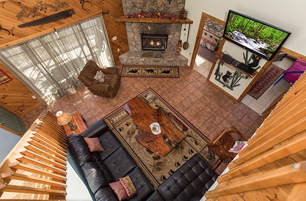 Overhead view of the living room at Alone at the Top, a 3 bedroom cabin rental located in Pigeon Forge