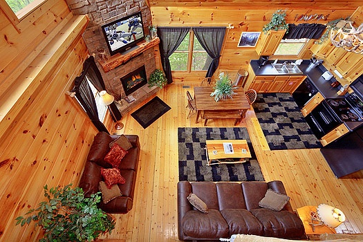 living room at at bearly makin' it a 1 bedroom cabin rental located in gatlinburg