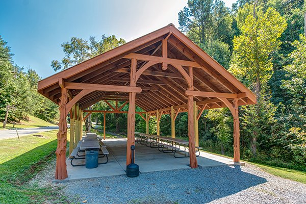 Alpine Mountain Village picnic pavilion for guests at Hickory Hideaway, a 3-bedroom cabin rental located in Pigeon Forge