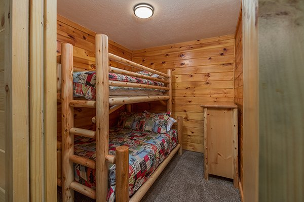 Twin bunk over a full bunk at Hickory Hideaway, a 3-bedroom cabin rental located in Pigeon Forge