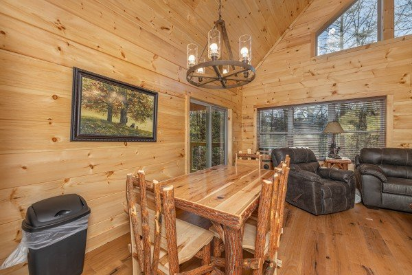 Dining table for six at Bessy Bears Cabin, a 2 bedroom cabin rental located inGatlinburg