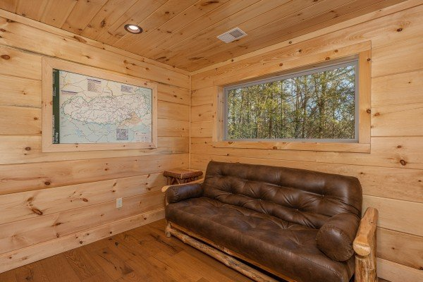 Futon in the loft space at Bessy Bears Cabin, a 2 bedroom cabin rental located inGatlinburg