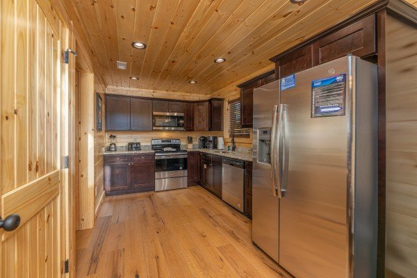 Kitchen with stainless appliances at Bessy Bears Cabin, a 2 bedroom cabin rental located inGatlinburg
