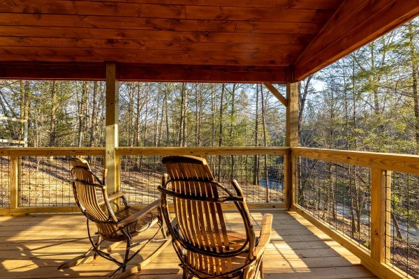 Wooded porch views at Bessy Bears Cabin, a 2 bedroom cabin rental located inGatlinburg