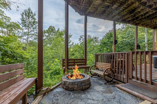 Fire pit at Bearing Views, a 3 bedroom cabin rental located in Pigeon Forge