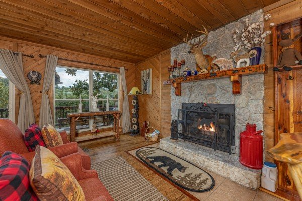 Fireplace at Bearing Views, a 3 bedroom cabin rental located in Pigeon Forge