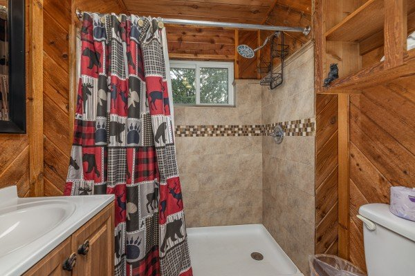 Bathroom with a walk in shower at Bearing Views, a 3 bedroom cabin rental located in Pigeon Forge