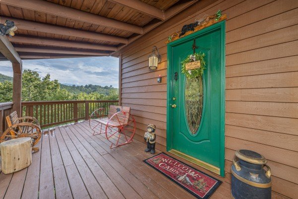Front door at Bearing Views, a 3 bedroom cabin rental located in Pigeon Forge