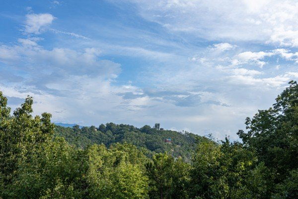 Treetop mountain views at Bearing Views, a 3 bedroom cabin rental located in Pigeon Forge
