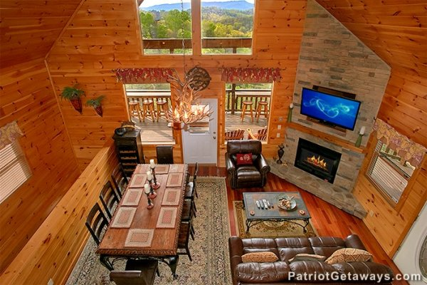 Looking down onto the open concept main floor at Privacy & a View, a 3 bedroom cabin rental located in Pigeon Forge