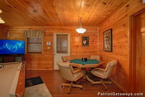Card table in the game room at Privacy & A View, a 3 bedroom cabin rental located in Pigeon Forge