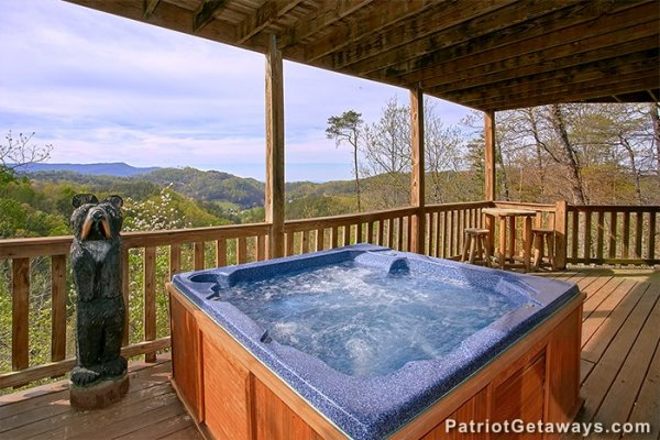 Hot tub on a covered porch at Privacy & A View, a 3 bedroom cabin rental located in Pigeon Forge