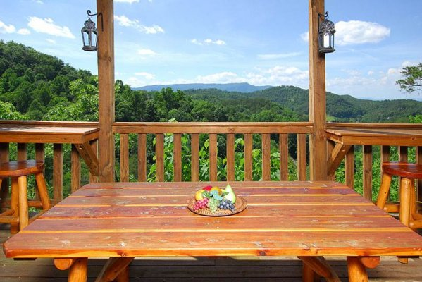 Picnic table on a covered deck with mountain views at Privacy & A View, a 3 bedroom cabin rental located in Pigeon Forge