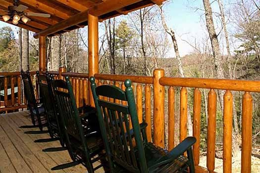 deck with rockers at starry starry night a 2 bedroom cabin rental located in pigeon forge