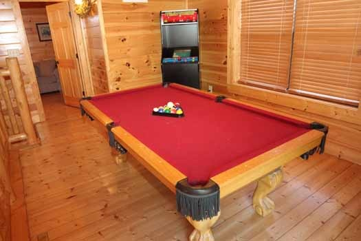 game room with pool table at starry starry night a 2 bedroom cabin rental located in pigeon forge