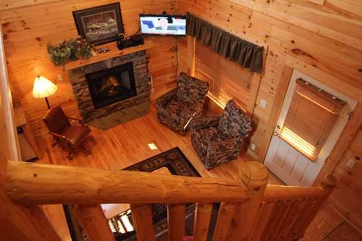 overhead view living room at starry starry night a 2 bedroom cabin rental located in pigeon forge