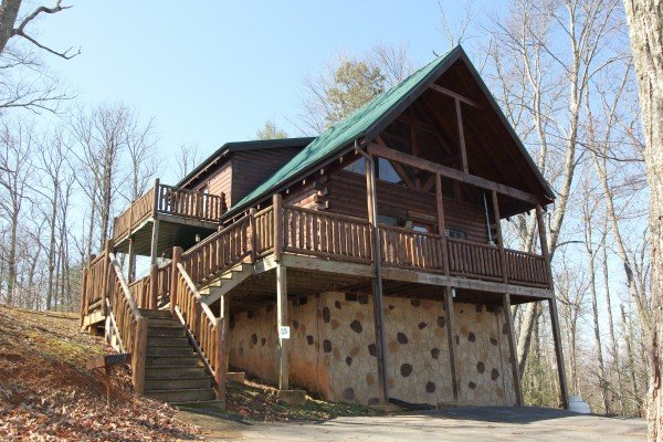 Looking at the cabin from the parking area at Bear View Lodge, a 2-bedroom cabin rental located in Gatlinburg