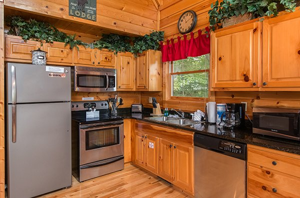 Kitchen with stainless appliances at Bear View Lodge, a 2-bedroom cabin rental located in Gatlinburg