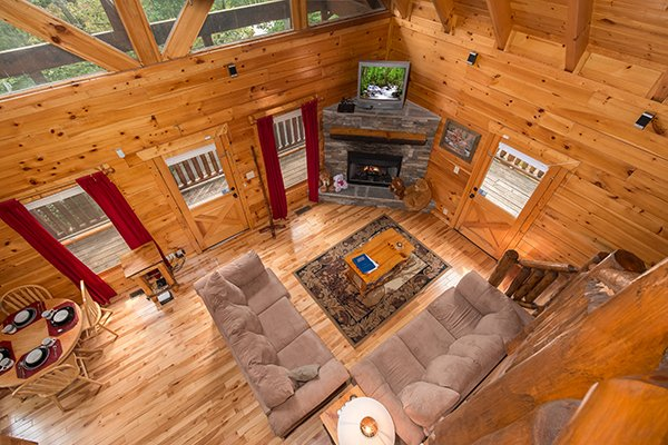 Overhead view of the living room at Bear View Lodge, a 2-bedroom cabin rental located in Gatlinburg