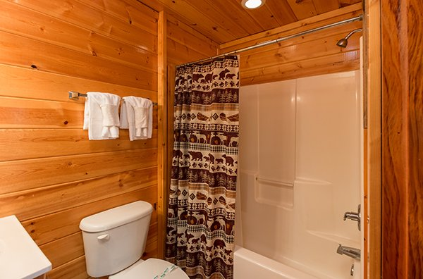 Second bathroom with tub and shower at Bear View Lodge, a 2-bedroom cabin rental located in Gatlinburg