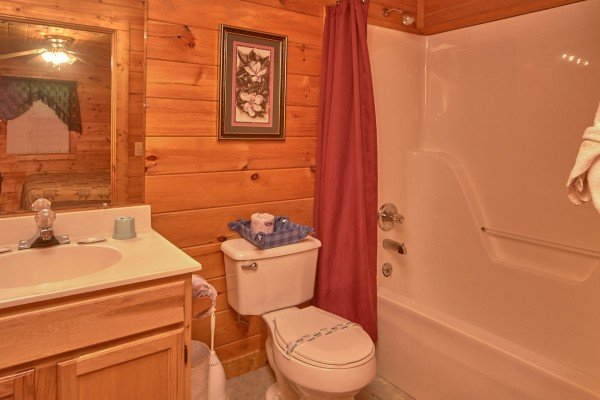 Bathroom at Dream Catcher, a 1-bedroom cabin rental located in Pigeon Forge