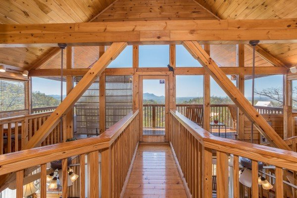 catwalk in an a frame with a view at all that jazz a 1 bedroom cabin rental located in pigeon forge