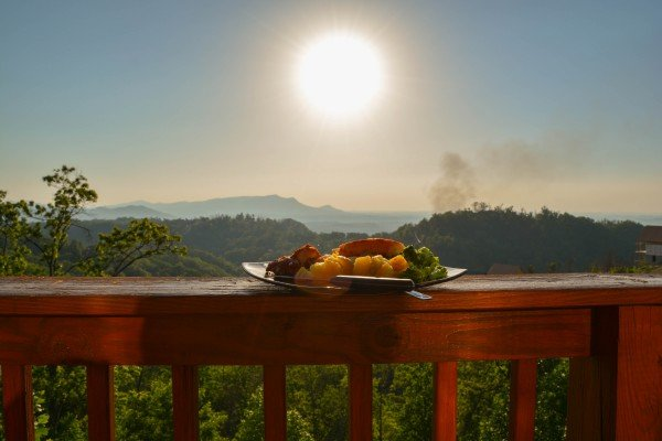 appetizers on the deck at sunset at all that jazz a 1 bedroom cabin rental located in pigeon forge