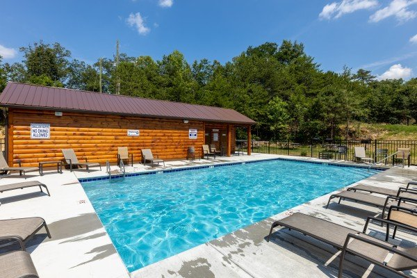 Resort pool for guests at all that jazz a 1 bedroom cabin rental located in pigeon forge